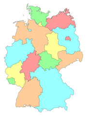 Vector colorful detailed map of Germany isolated on white background