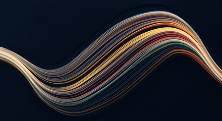 Abstract bright wavy lines on black background. Abstract modern background. Futuristic concept. Wall mural
