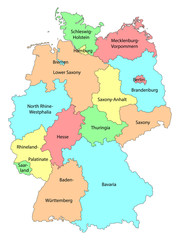 Vector colorful detailed map of Germany with names of the federal states isolated on white background