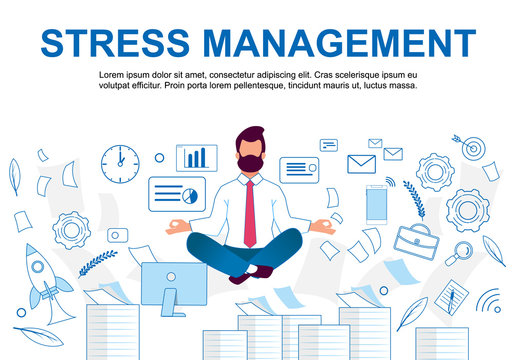 Vector Illustration Stress Management Cartoon.