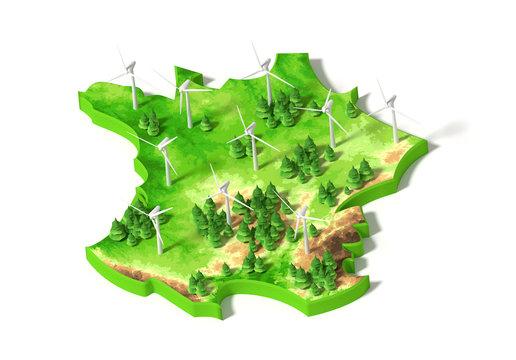 CARTE FRANCE 3D - Energie renouvelable EOLIENNES #1