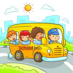 Keuken foto achterwand Kinderkamer School Bus, Kids going to school in school bus. Vector Illustration