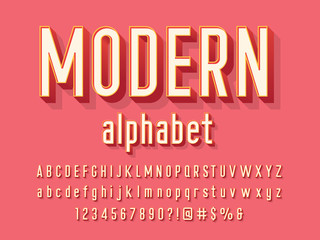 Vector of modern alphabet design with uppercase, lowercase, numbers and symbols