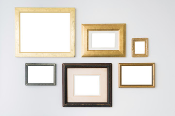 Blank empty frames on white background. Art gallery, museum exhi