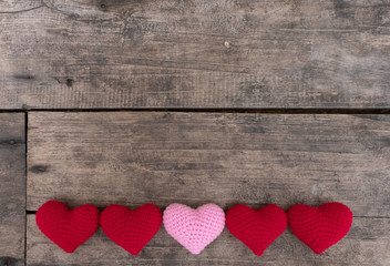 Hearts on the wooden table
