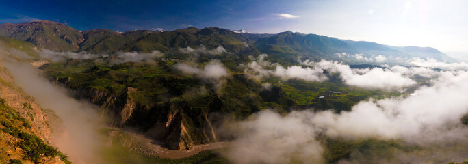 Aerial panoramic view to Colca canyon from the Tunturpay viewpoint, Chivay, Arequipa, Peru