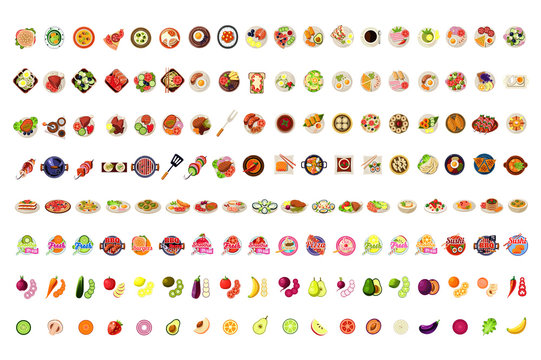 Food Icons Big Set, Fruits, Vegetables, BBQ, Pizza, Smoothie, Sushi, Ice Cream, Burgers Labels Vector Illustration