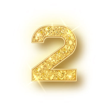 Gold glitter alphabet numbers 2 with shadow. Vector realistick shining golden font number two of sparkles on white background. For decoration of cute wedding, anniversary, party, label, headline