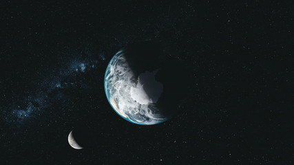 Wall Mural - Spin Earth Moon Orbit Milky Way Satellite View. Universe Zoom Sun Beam Glow Interstellar Nebula Deep Outer Space Exploration Concept 3D Animation