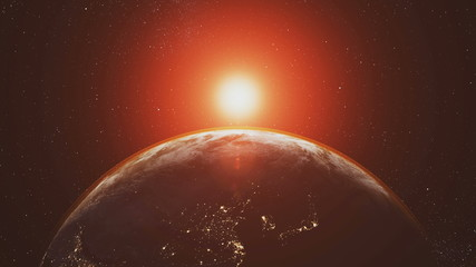 Wall Mural - Planet Earth Orbit Zoom In Red Sunlight Radiance. Celestial Navigation Starry Galaxy Background Solar System Outer Space Exploration Concept 3D Animation