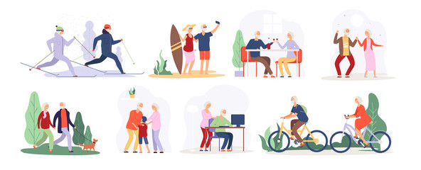 Obraz Elderly people. Senior grandfather grandmother couple sport tourist granny elderly people walking running cycling dancing vector set. Active lifestyle cycling and running illustration - fototapety do salonu