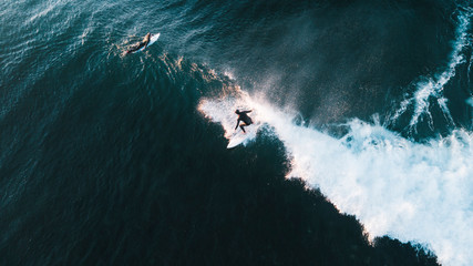 Aerial View of Waves and Surfers and Beach Landscape of Bells Beach Along the Great Ocean Road, Australia Wall mural