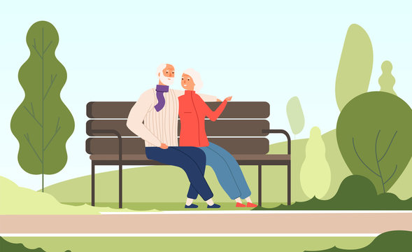 Elderly couple park. Seniors happy grandfather grandmother sitting on bench old family in summer nature city park vector concept. Illustration of couple sit on bench, grandfather and grandmother relax