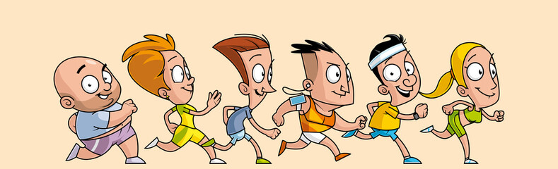 Group of cartoon  runners