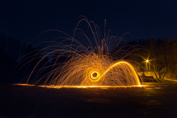 Steel wool long exposure photograph at night, photography worksh