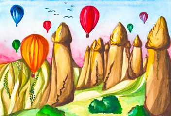Watercolor illustration Turkey Cappadocia. Watercolor picture of balloon with landscape view Cappadocia at Turkey.