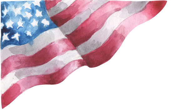 Watercolor flag of the US. For patriotic compositions on the day of independence of the USA