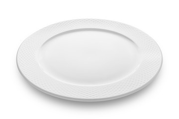 Empty plate isolated on white background with clipping path.