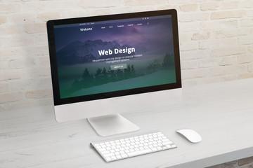 Wall Mural - Flat design web site presentation on modern computer display. Concept of web design studio portfolio presentation.