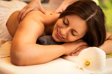 Girl on massage in the spa salon
