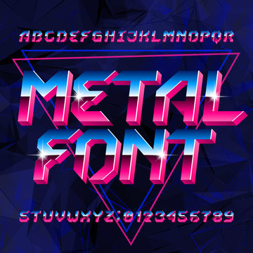 80s Metal alphabet font. Letters, numbers and symbols on abstract background. Stock vector typescript font for your design in retro 80s style.
