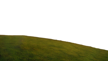 round hill of grass isolated on white background