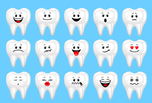 Vector set of tooth emoticons. Collection of characters of teeth with different emotions in cartoon style on blue background.