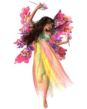 Fantasy illustration of a dark-haired dancing fairy in shiny carnival dress with flower wings, 3d digitally rendered illustration
