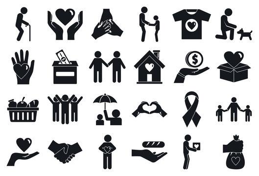 Volunteering helping icons set. Simple set of volunteering helping vector icons for web design on white background