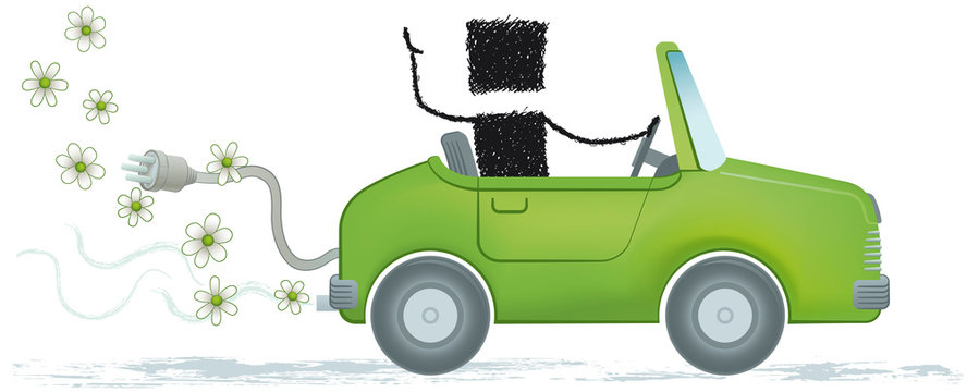 Eco car, isolated on white background. Illustration of a stick figure driving an electric car.