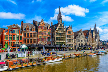 View of Graslei quay and Leie river in the historic city center in Ghent (Gent), Belgium. Architecture and landmark of Ghent. Cityscape of Ghent. Wall mural