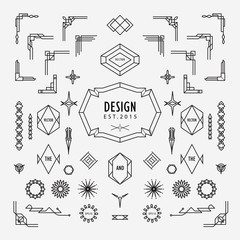 set of vintage geometric shape linear thin line art deco retro design elements with frame corner badge
