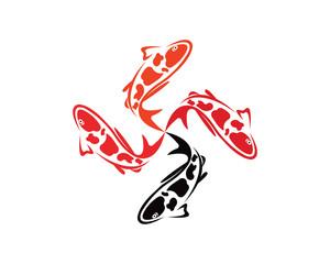Koi design on white background. Animal. Fish icon. Underwater. Easy editable layared vector illustration