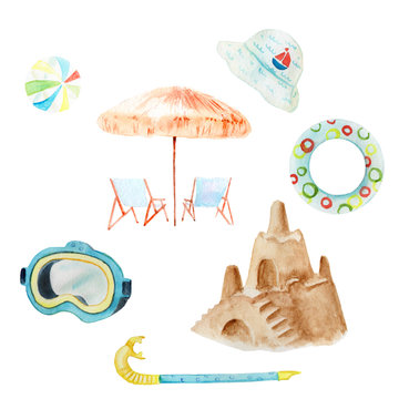 watercolor set of drawings on the theme of children's beach