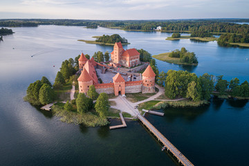 Trakai Castle with lake and forest in background.  Lithuania.