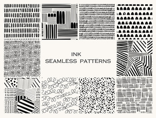 Wall Mural - Various lines and shapes. Set of ten black and white abstract seamless patterns. Ink drawing style. Contemporary hand drawn modern trendy vector illustrations. Every pattern is isolated