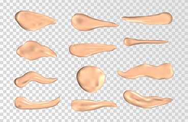 Concealer smears vector set. Foundation cream isolated on transparent background. Cosmetic cream smudge, swatch of foundation illustration