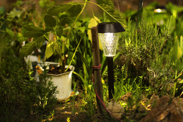 Beautiful lamp in the garden. Lamp with solar battery Fotomurales
