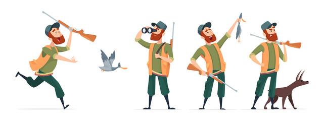 Cartoon hunters. Vector hunter with dog, guns, binoculars, duck isolated on white background. Hunter run to duck, cartoon bird and shotgun illustration Wall mural