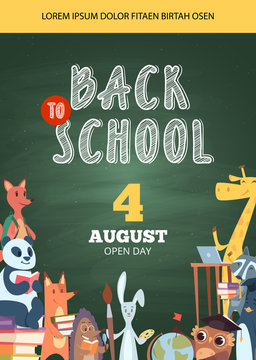 Back to school poster. Open day party event invitation placard pictures of funny school cartoon animals vector banner flyer. Illustration of back school poster with fox and owl, hedgehog and giraffe