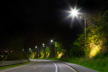 night street with modern led street lights in small city Fotomurales