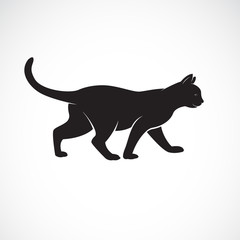 Vector of cat walking on a white background. Pet. Animals. Cat logo or icon. Easy editable layered vector illustration.