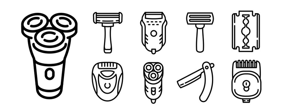 Shaver icons set. Outline set of shaver vector icons for web design isolated on white background