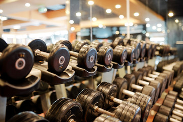 Fototapeten Fitness Rows of metal dumbbells on rack for strength training in gym