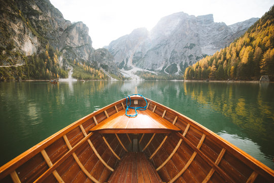 Traditional rowing boat at Lago di Braies in the Dolomites