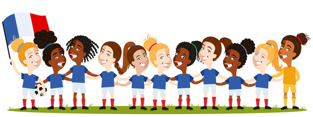 Women's football, French team lineup cartoon