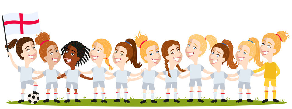 Women's football, English team lineup cartoon