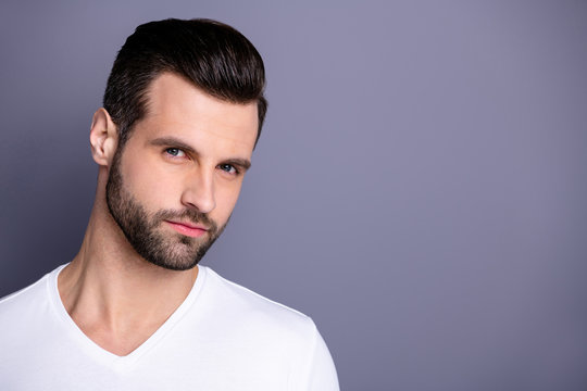 Close up photo amazing he him his macho perfect ideal appearance neat bristle face calm not talk tell speak say smile ponder pensive contemplation wear casual white t-shirt isolated grey background