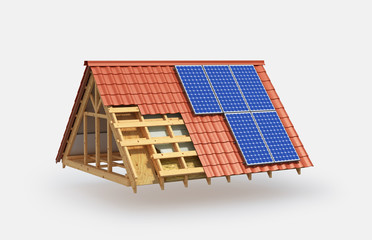 building. Roof insulation and installation of solar panels. 3d illustration