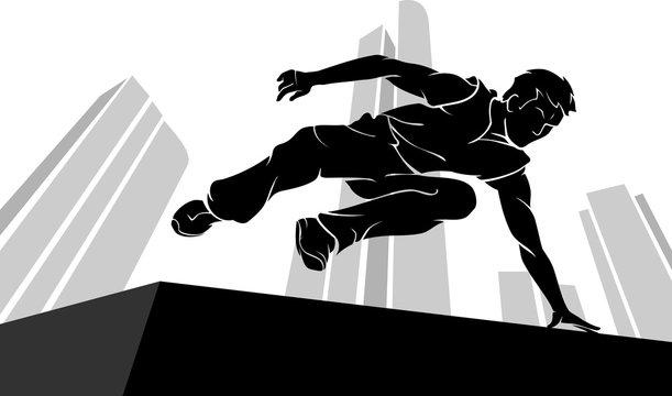 Parkour Jump Silhouette, Urban Scene